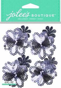 JOLEE'S BOUTIQUE GREY SEQUINS FLORAL DIMENSIONAL STICKERS-015586978940