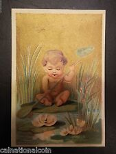 Baby Sitting on Lilypad Plaing in Pond Antique Trade Card