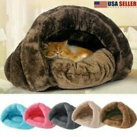 US Xmas Pet Cat Dog House Kennel Cuddle Cave Sleeping Bed Soft Mat Pad Warm Nest