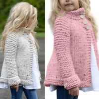Toddler Kid Baby Girl Outfit Clothes Button Knitted Sweater Coat Outerwear 2-8T
