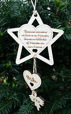Personalised Wooden Memory Star Christmas Tree Decoration Memorial Bauble Gift