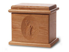 Wood Cremation Urn. Deluxe model with a Natural Finish with a Fish Image
