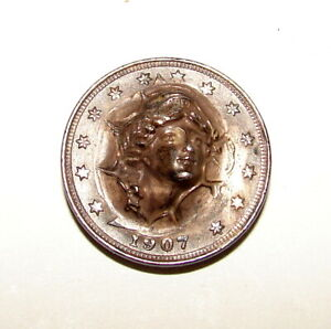 1907 LIBERTY NICKEL POP PUSH PUNCH OUT REPOUSSE COIN VERY UNIQUE