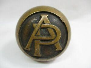"Antique Brass Door Knob w Embossed Letters AP-Augustus Paulsen -12.6oz- 2.5"" -ch"