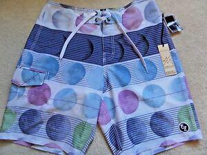 NWT Men's Ezekiel 'Boondock Blue' Stretch Deco Boardshorts ER132061N Swimsuit 34