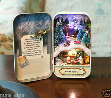 Sky Blue Tin Box DIY Handcraft Miniature Project Dolls House The Snow Dream