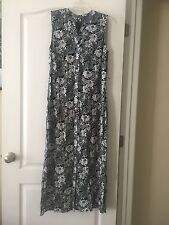 NWT Talbots Sz 8 Black & White Print Front Button Shift Maxi Dress W/Pockets!