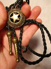 Brass Badge Style BOLO Black Cord with Blass tips Tips