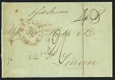 New Braunfels, Texas to London on a Stampless 1849 Folded Letter Sheet