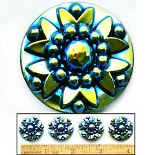 24mm Vintage Czech Glass 3D BLUE FLASH AB Medallion Star Burst Dot Buttons 4pc