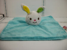 "Babies 2 Grow Rabbit Bunny Security Blanket Blankie Lovey Aqua Blue 10"" x 10"""