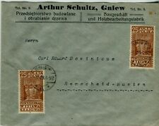 1929 Gniew Poland Cover Corner Card Envelope to Remscheid Germany