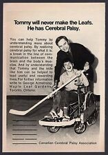 1973 CANADIAN CEREBRAL PALSY AD~GEORGE ARMSTRONG TORONTO MAPLE LEAFS HOCKEY