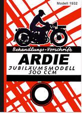 Ardie 500 ccm aniversario modelo manual de instrucciones manual jap motor 14 PS 1932
