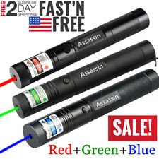 3PC 600Mile Adjustable Focus Green+Red+Blue Purple Laser Pointer Lazer Pen Light