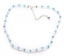 Delightful-translucent Blue & Pink Flower Beads & Chrome Clasp Necklace(Zx299)