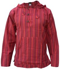 Hippie Collarless Grandad Striped Cotton Natural Shirt Top Nepalese Hoody