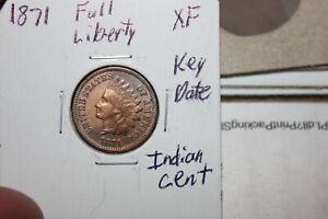 1871   FULL LIBERTY  KEY DATE   XF   INDIAN HEAD CENT