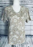Croft Barrow Women's Large Blouse Short Sleeves V Neck Beige Tan 100% Cotton