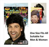 BLACK MULLET HAIR WIG  ADULT PARTY Costume MEN/ WOMEN 70s 80s ROCK BOGAN FANCY