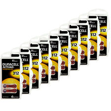 60 x Duracell Activair 312 Size Hearing aid batteries Zinc air 10 Packs EXP:2021