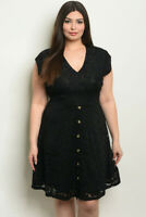 Womens Plus Size Black Lace Dress 3XL Short Sleeve V-Neck Lined Stretch