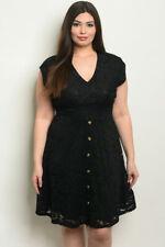 Womens Plus Size Black Lace Dress 2XL Short Sleeve V-Neck Lined Stretch