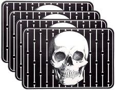 Sourpuss Boney Skulls Black Skeleton Place Mats Set of 4