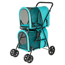 4 Wheels Pet Stroller Walk Folding Travel Carrier Cart Cat Dog Cage Lightweight