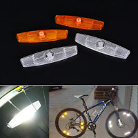 2X Bicycle Bike Wheel Reflector Spoke Reflective Mount Vintage Clip Warning DSUK
