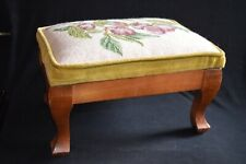Small needlepoint Footstool Plums fruit foliage and butterfly. Wood legs & base