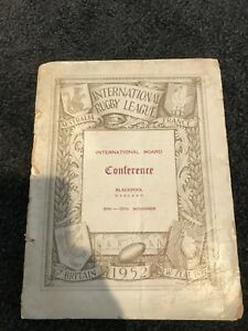 1952 INTERNATIONAL RUGBY LEAGUE CONFERENCE BOOKLET- AUST vs FRANCE
