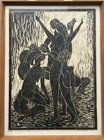Holzschnitt tanzende Akte Keld Sörensen Expressiv Frauen 67 x 50 cm