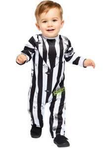 Child Toddlers Beetlejuice Costume Kids 80s Movie Halloween Fancy Dress Outfit