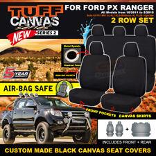 BLACK TUFF CANVAS FORD PX RANGER MK1 Dual Cab Seat Covers 2ROW XL XLT 2011-15