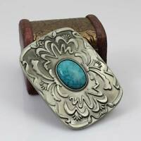 Turquoise Clouds Belt Buckle Man Black No Leather Western New Fashion New