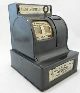 Uncle Sam's Metal 3 Coin Cash Register Bank Durable Toy & Novelty Totals Cash In