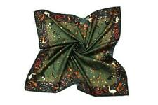 Large Square Silk Twill Scarf Black and Green Floral and Birds Print XWC660