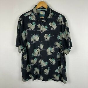 Tommy Bahama Mens Button Up Size XL Black Tropical Short Sleeve Collared Silk
