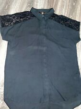 Ladies Long Length Lipsy Blouse in black colour with lace shoulder, Size 14