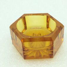 Vintage Open Salt Cellar Dip Amber Glass Hexagon Shape H