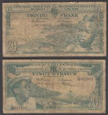 Belgian Congo 20 Francs 1957 (VG-F) Condition Banknote P-31