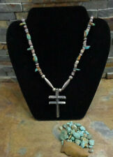 WONDERFUL NAVAJO PUEBLO STERLING TURQUOISE DRAGONFLY CROSS BENCH BEAD NECKLACE