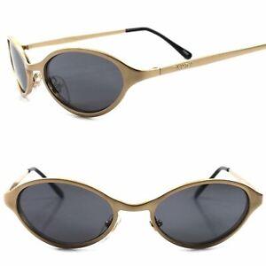 True Vintage Classic 80s 90s Unique Matte Gold Mens Womens Round Oval Sunglasses