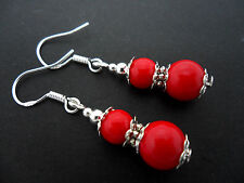 A PAIR OF RED CORAL BEAD   EARRINGS WITH 925 SOLID SILVER HOOKS. NEW..