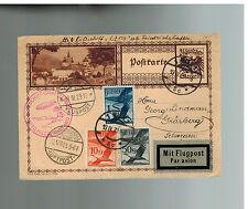 1929 Vienna Austria Graf Zeppelin postcard cover Mediterranean Flight to Sweden