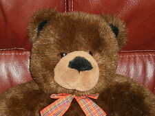 "Gund ""MAC"" Plush Teddy Bear Chocolate Brown Plaid Bow 16 inches Lovely Condition"