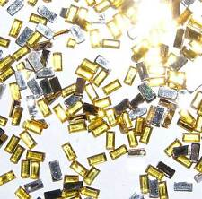 100 Bijoux d'Ongle Nail Art Strass LINGOT Jaune Or 3 mm
