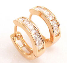 fashion1uk Men Women's Rose Gold Plated Simulated Diamond Huggie Hoop Earrings