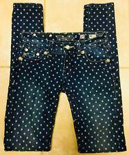 Miss Me JS5151S25L Skinny Polka Dot Stretch Blue Jeans size 25 x 32 1/2